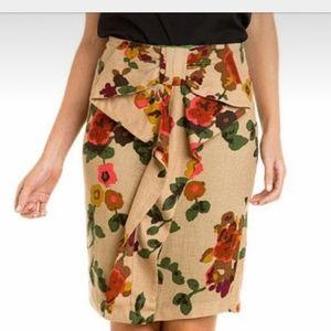 Eva franco wool blend floral ruffle bow skirt 8